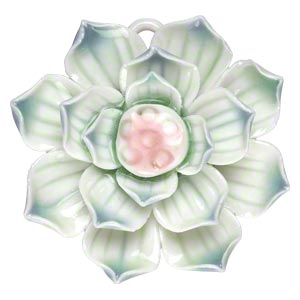 focal, porcelain, multicolored, 42x42mm-47x47mm single-sided lotus with partially hidden loop. sold individually.