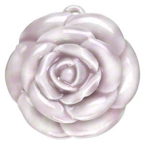 focal, porcelain, white and lavender, 42x39mm-44x43mm single-sided rose with partially hidden loop. sold individually.
