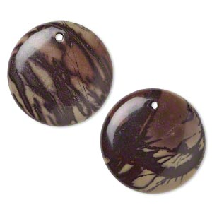 focal, purple creek stone (stabilized), 30mm flat round, b grade, mohs hardness 3-1/2 to 4. sold per pkg of 2.