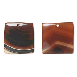 focal, red agate (dyed / heated), 32x32mm top-drilled flat square, b- grade, mohs hardness 6-1/2 to 7. sold per pkg of 2.