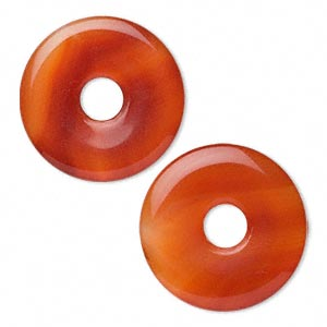focal, red agate (dyed / heated), 40mm donut, b grade, mohs hardness 6-1/2 to 7. sold per pkg of 2.