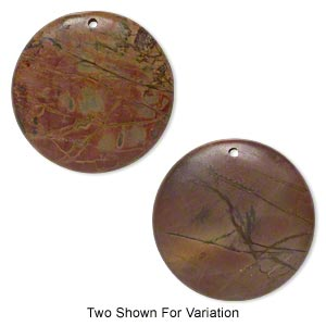 focal, red creek jasper (stabilized), 50mm flat round with flat back, b grade, mohs hardness 6-1/2 to 7. sold individually.