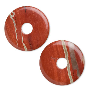 focal, red jasper (natural), 40mm round donut, b grade, mohs hardness 6-1/2 to 7. sold per pkg of 2.