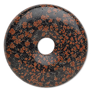 focal, red snowflake jasper (natural), 40mm round donut, b grade, mohs hardness 6-1/2 to 7. sold individually.