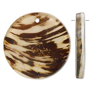 focal, resin and chinese freshwater mussel shell, white/brown/clear, 40mm single-sided flat round. sold individually.