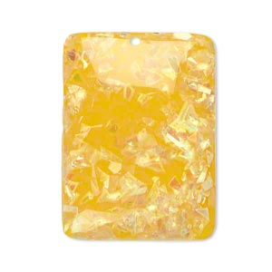 focal, resin, opalescent yellow, 35x25mm single-sided flat rectangle with domed center. sold per pkg of 10.