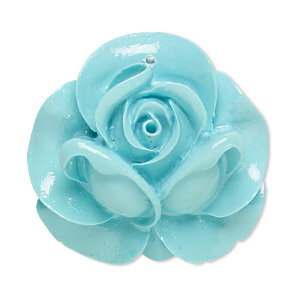 focal, resin, turquoise blue, 35x34mm rose. sold individually.