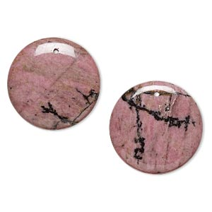 focal, rhodonite (natural), 30mm flat round, b grade, mohs hardness 5-1/2 to 6-1/2. sold per pkg of 2.