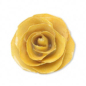 focal, rose / polyresin / sterling silver, yellow, 30x30mm-40x40mm rose with 4 loops. sold individually.