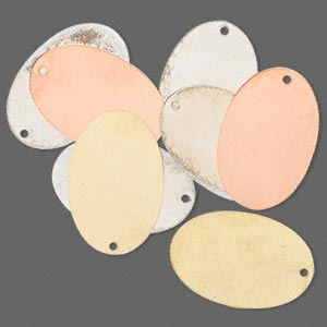 focal, silver- / gold- / copper-finished brass, 30x20mm double-sided oval. sold per pkg of 8.