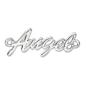 focal, silver-finished pewter (zinc-based alloy), 34x15mm single-sided angel. sold individually.