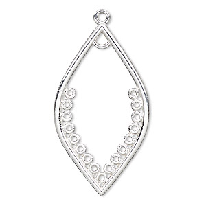 focal, silver-finished pewter (zinc-based alloy), 40x22.5mm open marquise with 18 loops. sold per pkg of 2.