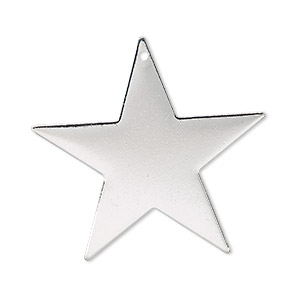focal, silver-plated brass, 33x33mm top-drilled star. sold per pkg of 4.
