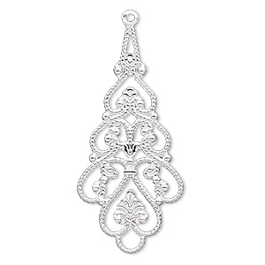 focal, silver-plated brass, 38x18mm filigree teardrop. sold per pkg of 100.