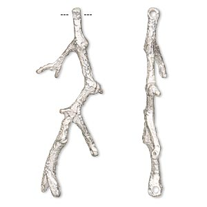 focal, silver-plated copper, 51x18mm branch, 3 loops. sold individually.