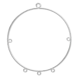 focal, silver-plated steel, 50mm round hoop with 5 loops. sold per pkg of 10.