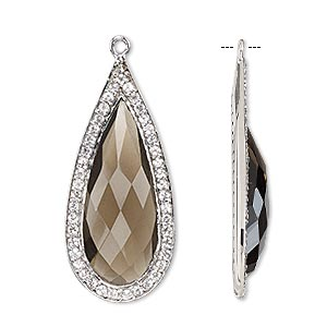 focal, smoky quartz (heated / irradiated) / white topaz (natural) / sterling silver, 35x16mm single-sided faceted teardrop. sold individually.
