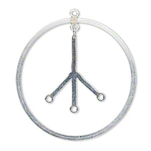 focal, sterling silver, 35mm flat peace sign with 3 loops. sold individually.