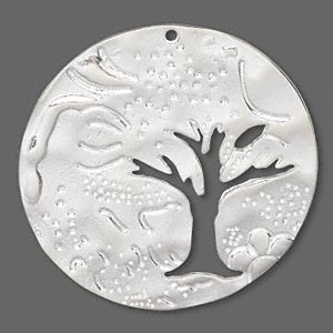 focal, sterling silver, 39mm round with tree. sold individually.