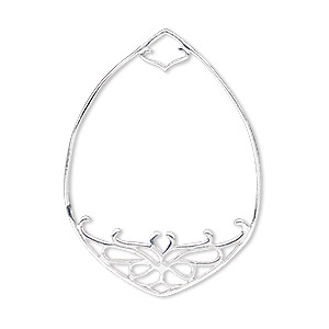 focal, sterling silver, 39x28.5mm teardrop with cutout design, 3.5x4mm hole. sold individually.