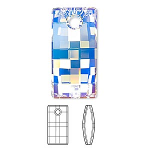 focal, swarovski crystals, crystal ab, 30mm faceted urban pendant (6696). sold per pkg of 10.