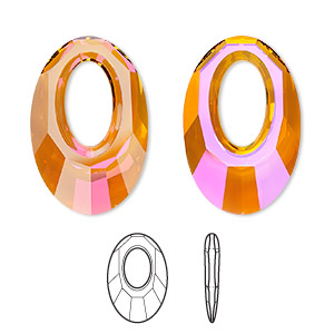 focal, swarovski crystals, crystal astral pink, 30x20mm faceted helios pendant (6040). sold per pkg of 30.