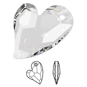 focal, swarovski crystals, crystal clear, 36x26mm faceted devoted 2 u heart pendant (6261). sold per pkg of 12.