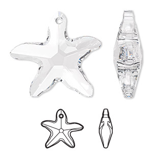 focal, swarovski crystals, crystal clear, 41x40mm faceted starfish pendant (6721). sold per pkg of 6.