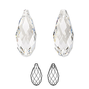focal, swarovski crystals, crystal clear, 50x21.5mm faceted briolette pendant (6010). sold per pkg of 6.