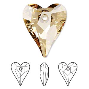 focal, swarovski crystals, crystal golden shadow, 37x30mm faceted wild heart pendant (6240). sold per pkg of 6.