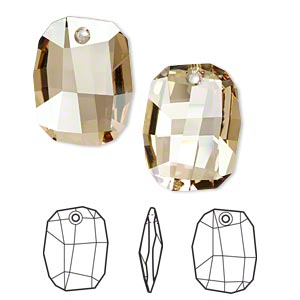 focal, swarovski crystals, crystal golden shadow, 38x28mm faceted graphic pendant (6685). sold per pkg of 6.