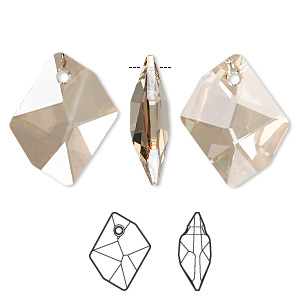 focal, swarovski crystals, crystal golden shadow, 40x32mm faceted cosmic pendant (6680). sold per pkg of 12.