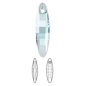 focal, swarovski crystals, crystal passions, aquamarine, 32x8mm faceted ellipse pendant (6470). sold individually.