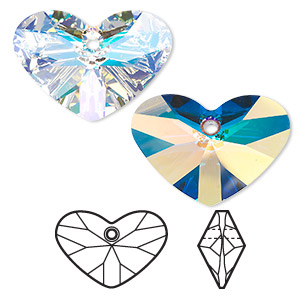 focal, swarovski crystals, crystal passions, crystal ab, 37x27mm faceted crazy 4 u heart pendant (6260). sold per pkg of 6.