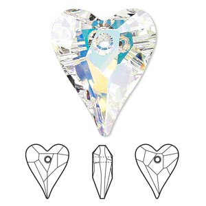 focal, swarovski crystals, crystal passions, crystal ab, 37x30mm faceted wild heart pendant (6240). sold individually.