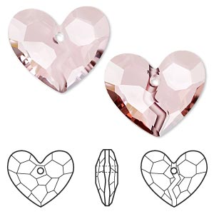 focal, swarovski crystals, crystal passions, crystal antique pink, 36x30.5mm faceted forever 1 heart pendant (6263). sold individually.