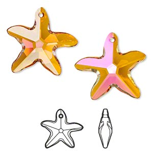 focal, swarovski crystals, crystal passions, crystal astral pink, 30x28mm faceted starfish pendant (6721). sold individually.