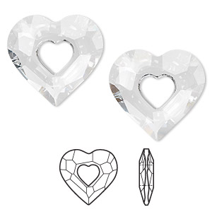 focal, swarovski crystals, crystal passions, crystal clear, 36x34mm faceted miss u heart pendant (6262). sold per pkg of 6.