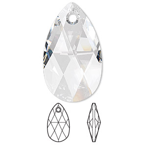 focal, swarovski crystals, crystal passions, crystal clear, 38x22mm faceted pear pendant (6106). sold individually.