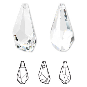 focal, swarovski crystals, crystal passions, crystal clear, 50x25mm faceted polygon pendant (6015). sold individually.