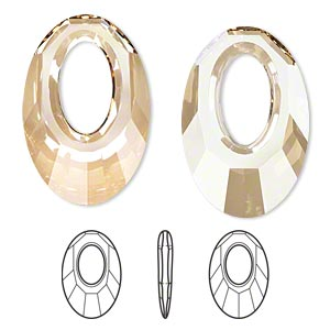 focal, swarovski crystals, crystal passions, crystal golden shadow, 30x20mm faceted helios pendant (6040). sold per pkg of 6.