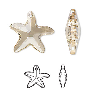 focal, swarovski crystals, crystal passions, crystal golden shadow, 30x28mm faceted starfish pendant (6721). sold individually.