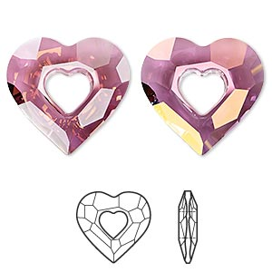 focal, swarovski crystals, crystal passions, crystal lilac shadow, 36x34mm faceted miss u heart pendant (6262). sold individually.
