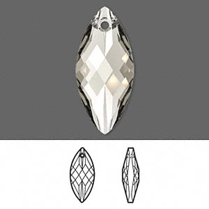 focal, swarovski crystals, crystal passions, crystal silver shade, 30x14mm faceted navette pendant (6110). sold per pkg of 6.