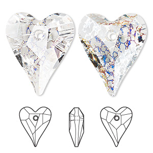 focal, swarovski crystals, crystal passions, crystal white patina, 37x30mm faceted wild heart pendant (6240). sold individually.