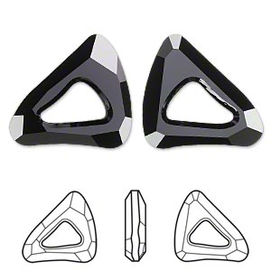 focal, swarovski crystals, crystal passions, jet, 34x30mm faceted organic cosmic triangle fancy stone (4736). sold per pkg of 6.
