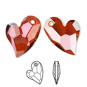focal, swarovski crystals, crystal red magma, 36x26mm faceted devoted 2 u heart pendant (6261). sold per pkg of 12.