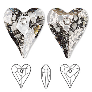 focal, swarovski crystals, crystal rose patina, 37x30mm faceted wild heart pendant (6240). sold per pkg of 6.