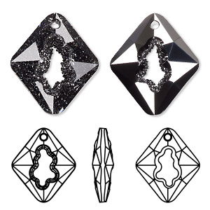 focal, swarovski crystals, crystal silver night, 36mm faceted grow rhombus pendant (6926). sold per pkg of 8.