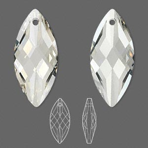 focal, swarovski crystals, crystal silver shade, 40x18mm faceted navette pendant (6110). sold per pkg of 12.